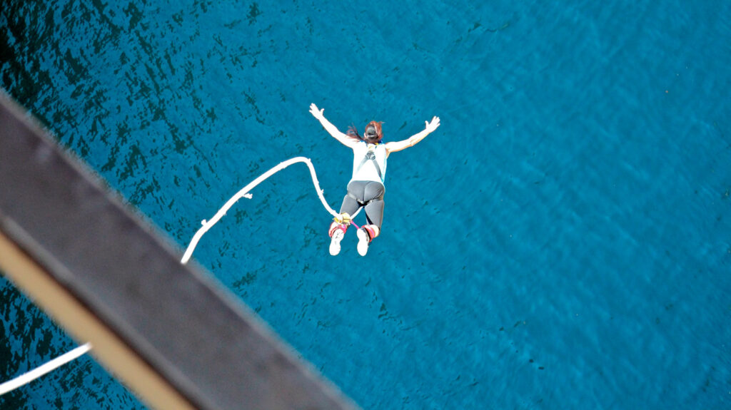 bungee jumping in the channel of Corinth, Greece