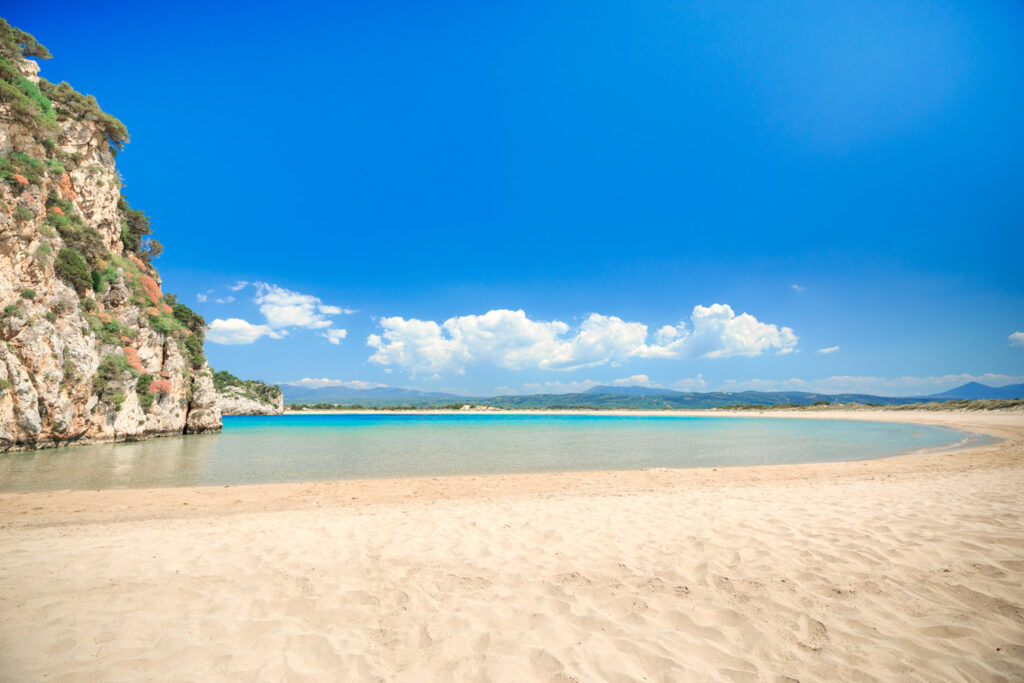 Famous sunny beach of Voidokilia near Pylos in Greece with beautiful golden sand