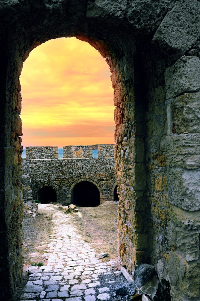 Fortress of Neokastro in Pylos at sunset, Messinia, Greece