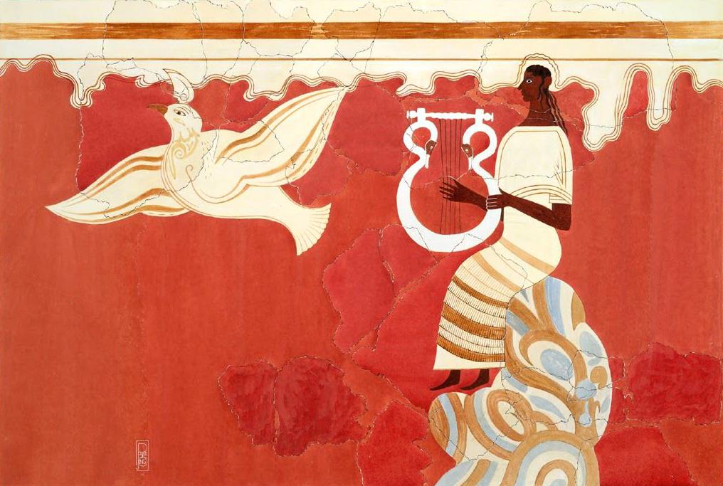 Lyre Player and Bird Fresco from Pylos Throne Room, Pylos, Messinia, Greece