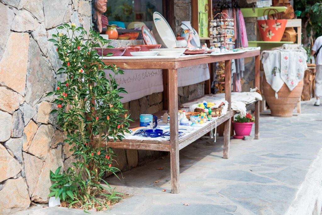 Street in the village of Kritsa, Crete Greece