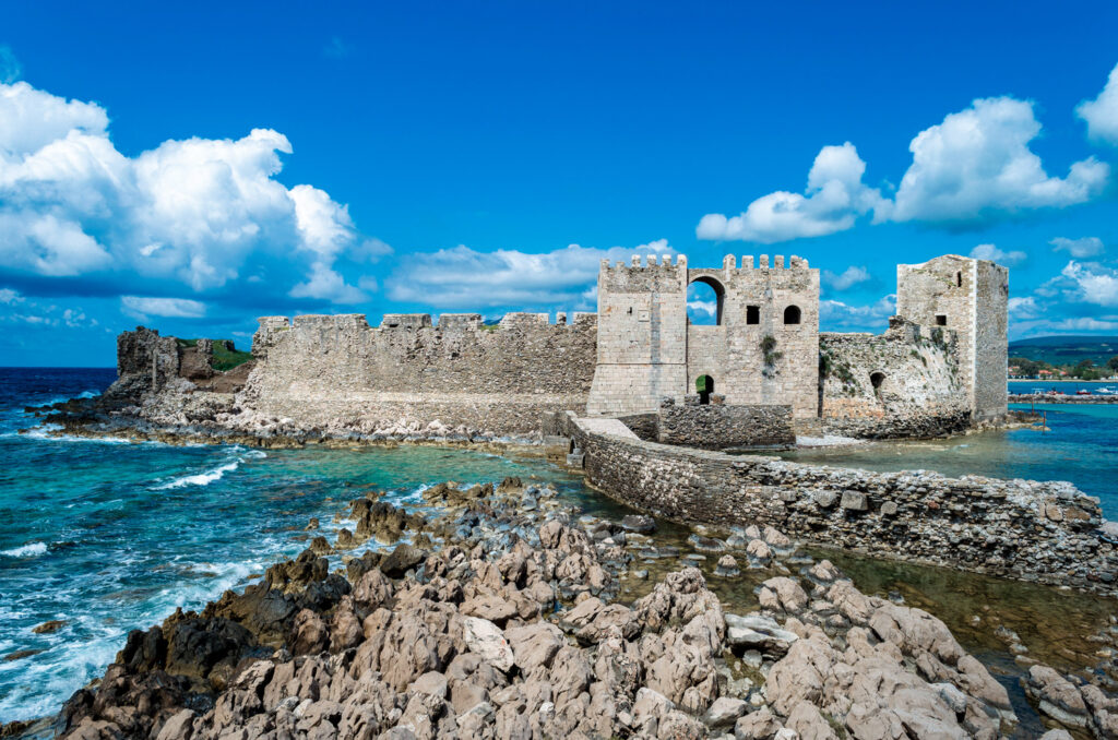 The bridge that leads to the impressive medieval castle of Methoni, Peloponnese Greece
