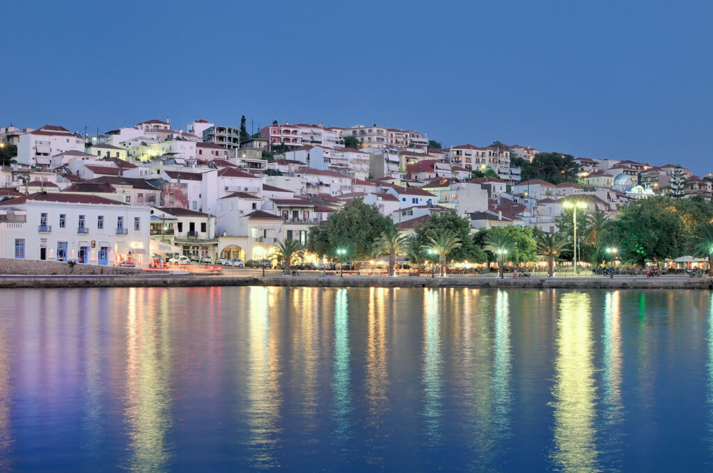 The town of Pylos, southern Greece, captured at dusk. Pylos is located in Messinia perfecture, Greece