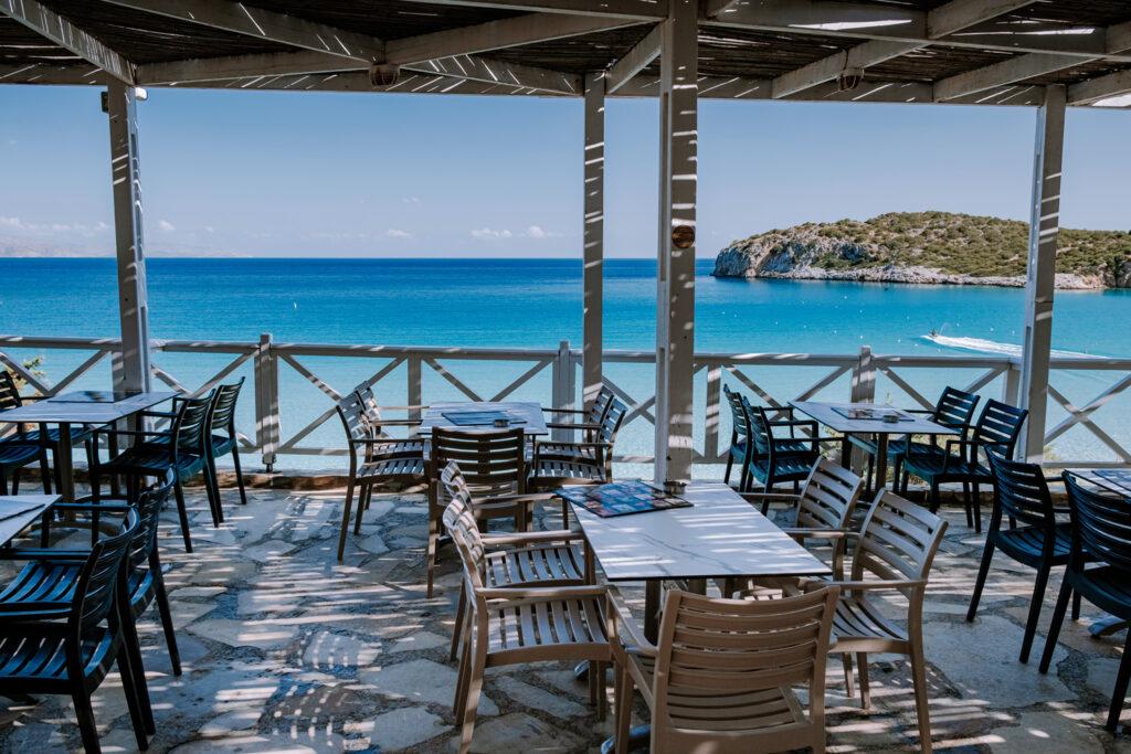 Tropical beach of Voulisma beach, Istron, Crete, Greece, som of the most beautiful beaches of Crete island -Istron bay near Agios Nikolaos