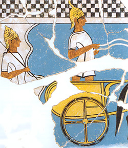 Two Mycenaean chariot warriors on a fresco from Pylos about 1350 BC, Pylos, Messinia, Greece