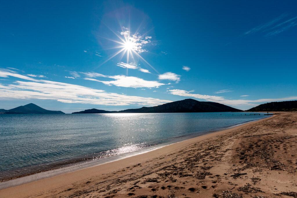 Ntivari (Golden Sand), Golden beach Gialova, Navarino Bay, Messenia, Peloponnese, Greece