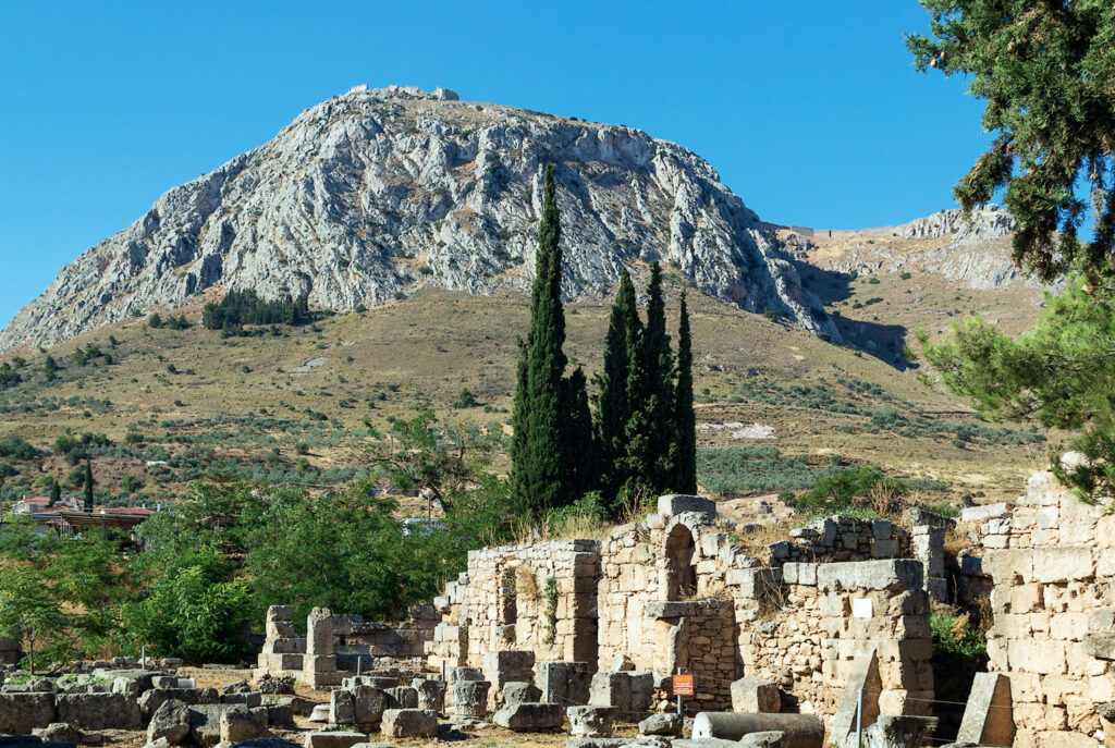 view of fortress Acrocorinth from ancient Corinth, Greece