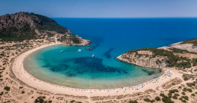 Voidokilia beach, one of the best beaches in the Mediterranean Sea, the lagoon of Voidokilia from a high point of view, Messinia, Greece