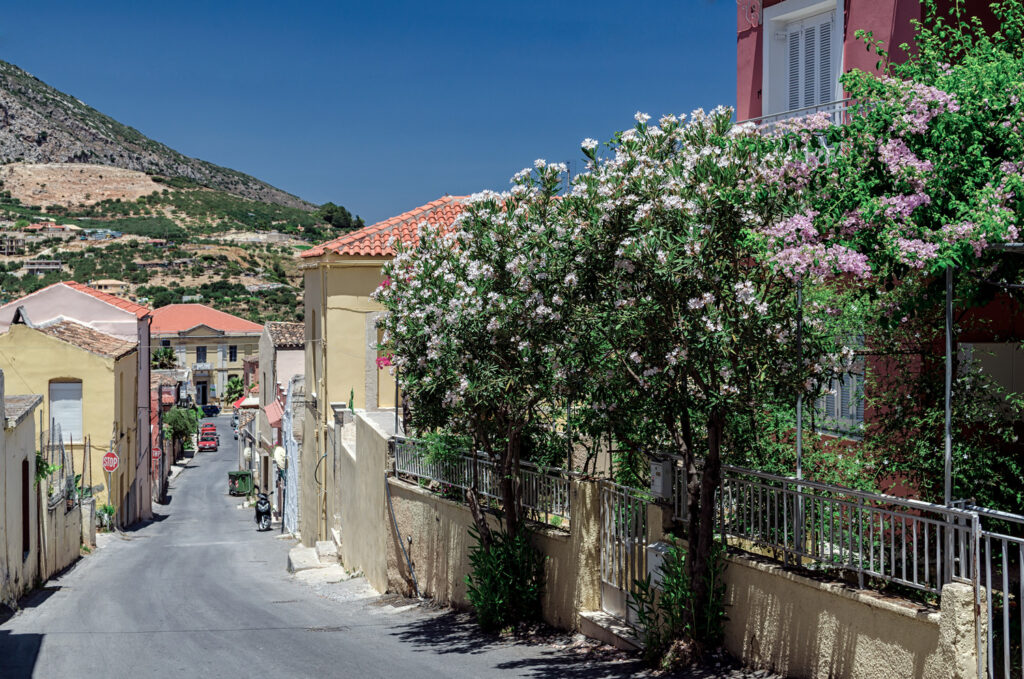 Archanes village is connected to Heraklion city by a 16 km long road. View of Archanes village from the road that leads to the old Town Hall, Crete Greece