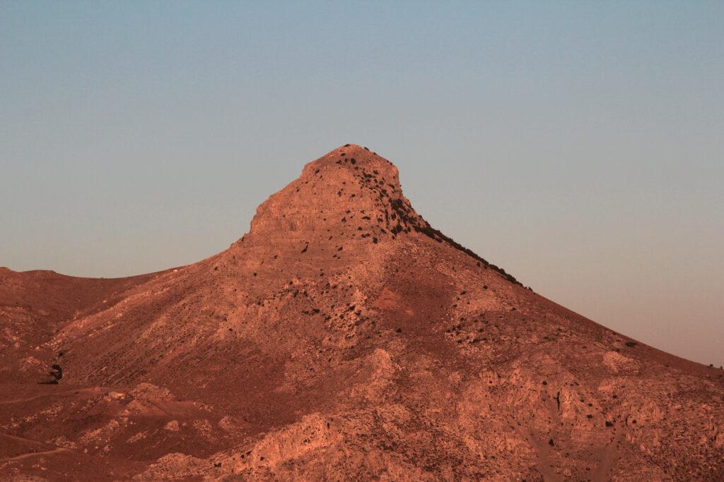 Kofinas, the highest peak of the Asterousia mountains, at sunset. Crete, Greece