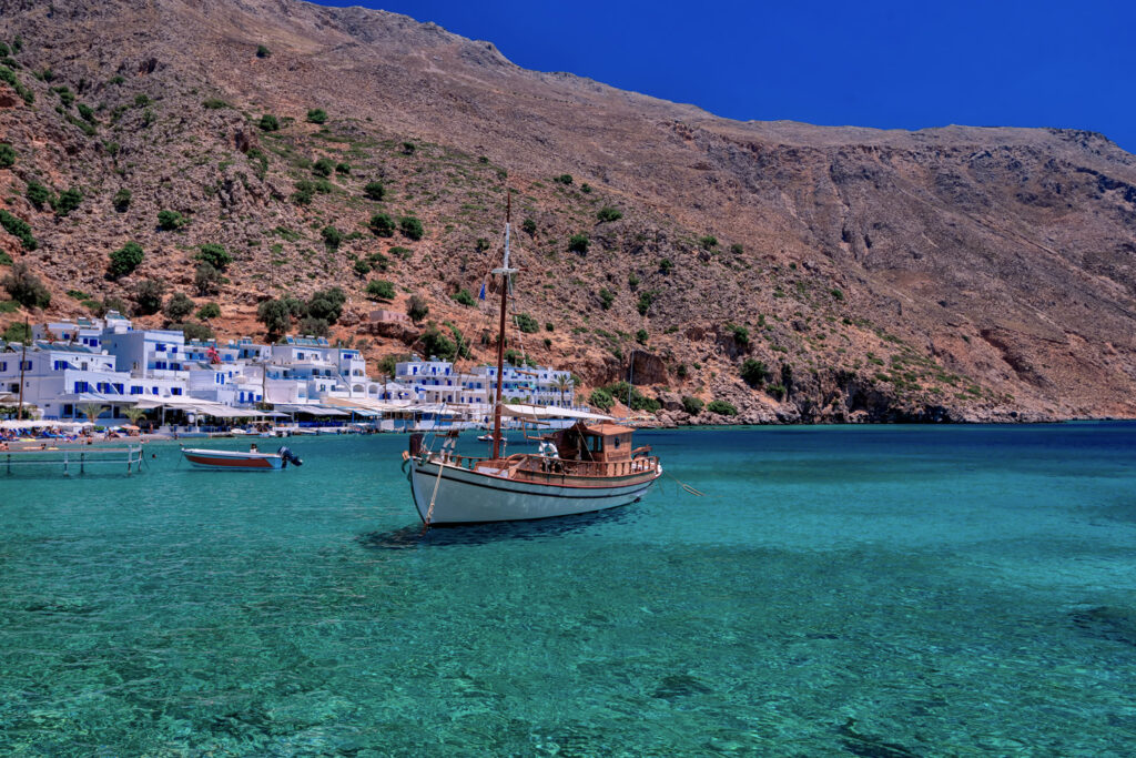 Loutro bay and charming village, Crete southern coast at the Libyan Sea, Greece