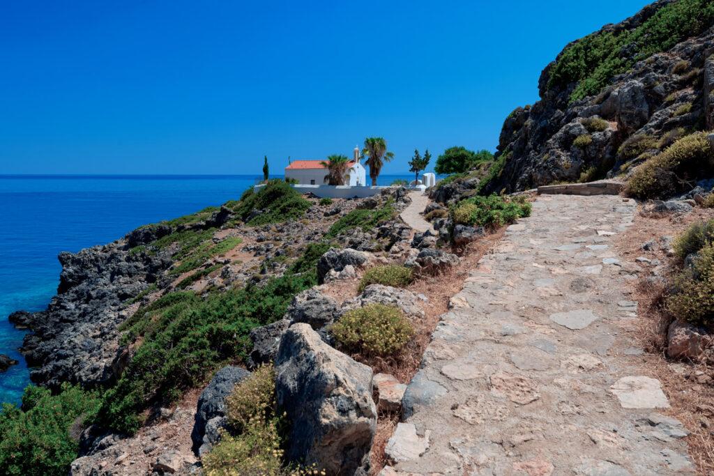 Smal church of Sotiros Christou near Loutro, Crete Island, Greece.
