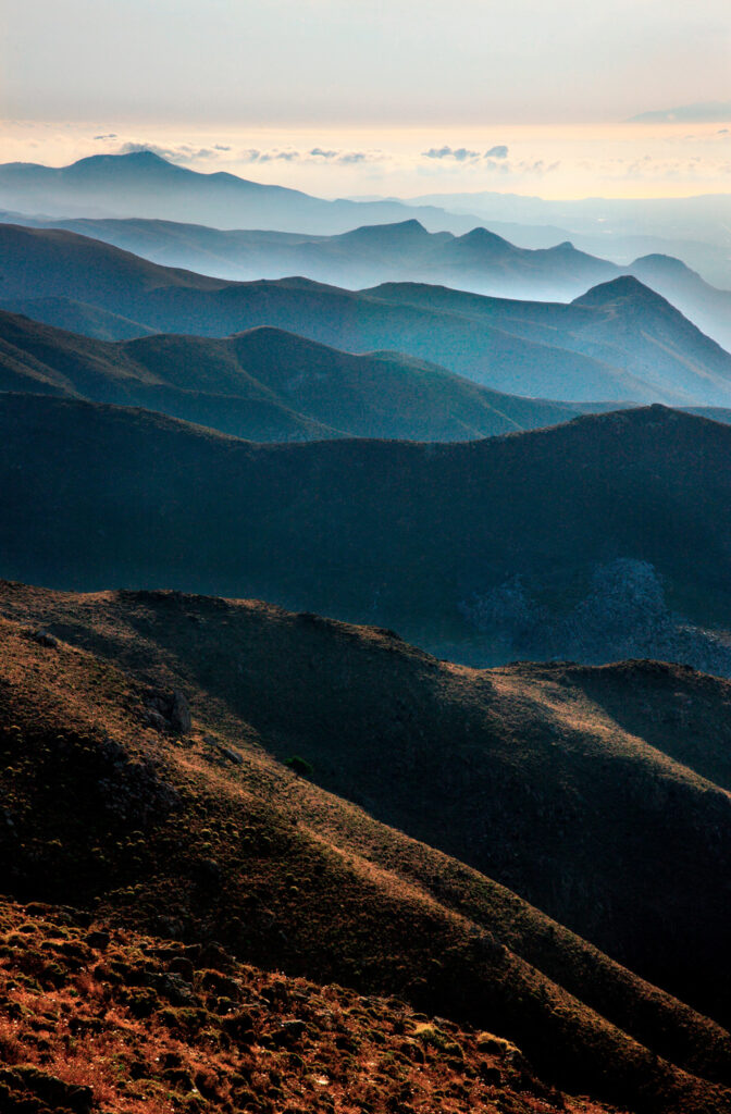 View of the Asteroussia mountain range, in southern Crete in Heraklion region, Greece